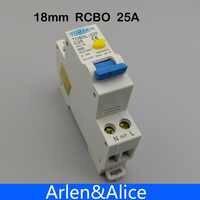 Interruptor automático diferencial de corriente Residual 18MM RCBO 25A 1P + N 6KA con protección contra sobrecorriente y fugas