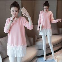 Autumn Korean Pregnant Clothes For Pregnant Women Maternity Dresses Stitching Long Sleeve Lace Dress Pregnancy Clothing Vestdios