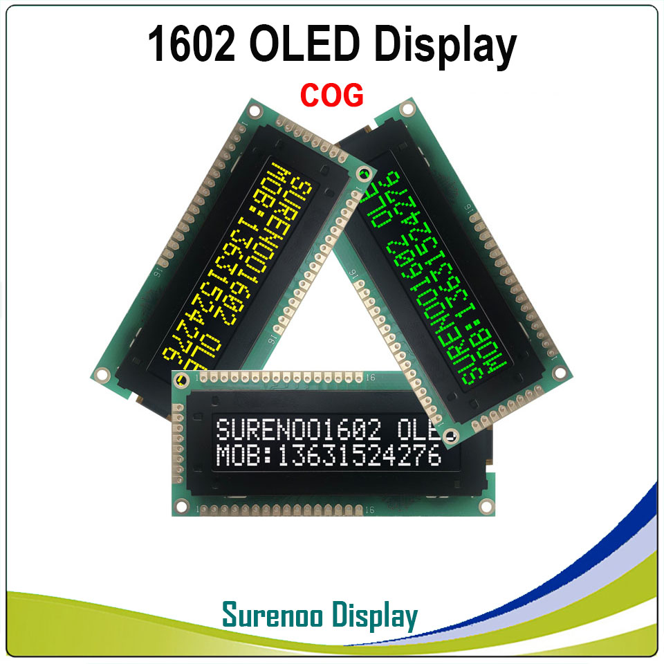 Real OLED Display, Standard KS0066 1602 162 16*2 Character LCD Module Display LCM Screen Support Parallel SPI IIC/I2C
