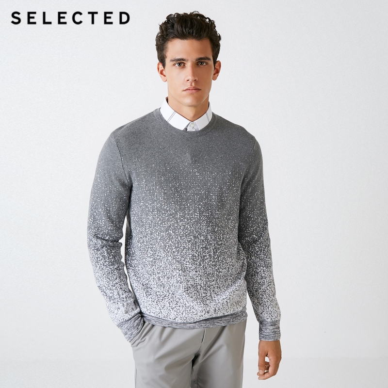 SELECTED Blackrock's New Men Round Collar Gradient Leisure Long Sleeve Knit Sweater S | 418324526