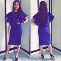 2017 Лето Женщины Королевский Синий Середине Карандаш Office Dress Flare Рукавом О-Образным Вырезом Тонкий Bodycon Dress Ladies Sexy Robe Femme