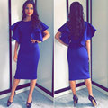 2017 Summer Women Royal Blue Mid Pencil Office Dress Flare Sleeve O-Neck Slim Bodycon Dress Ladies Sexy Robe Femme