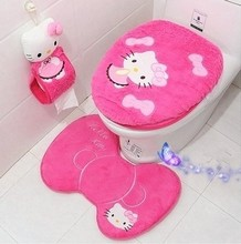 2016 NEW Hello Kitty Bathroom Sanitary Sitting Toilet Seat Cushion ring+ Floor Mat + Closestool Cover Cover+Tissue holders 4PCS