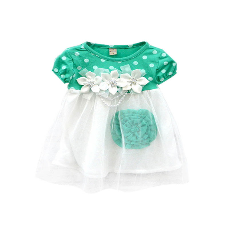 2017 Cute Summer Children Clothing Ball Gown Princess Dress Kids Baby Girls Polka Dots Flower Tutu Dresses 4 Colors