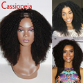 Kinky Curly U Part Wig Natural Color Middle Parting Upart Wigs For Black Women 150%Density Glueless U-part Wig Indian Remy Hair