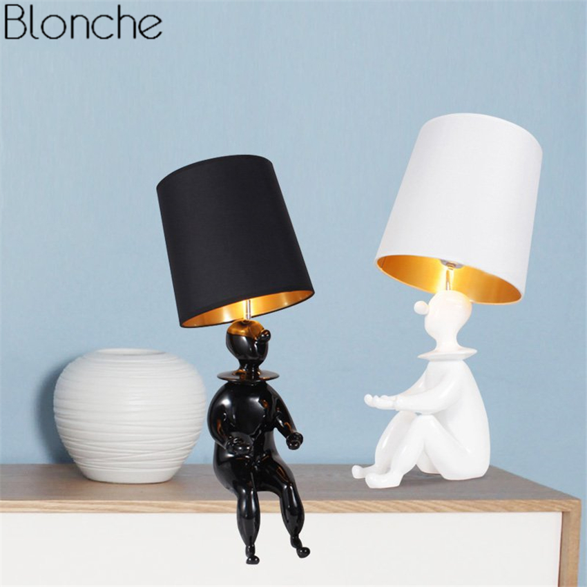 Nordic Doll Clown Table Lamp Modern Led Fabric Lampshade Desk Lights for Living Room Bedroom Study Reading Home Lighting Fixture шайба diffusor sh30 6m