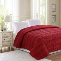CHAUSUB American Quality Cotton Thicken Quilt 1PC Handmade Quilts Quilted Bedspread Bed Cover Sheets Blanket Queen King Size Red
