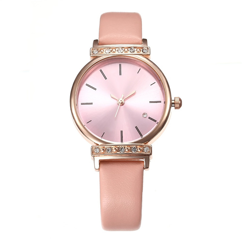 Women Watches Modern Fashion Simple Style Multicolor Dial Leather Belt Watch Rhinestone Inlaid Quartz Wristwatch For Ladies #D
