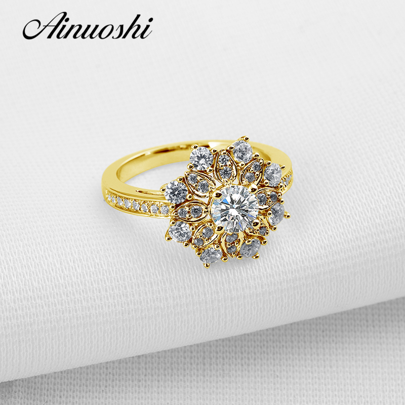 AINUOSHI Luxury Flower Yellow Gold Ring Pure 10k Solid Gold Women Wedding Halo Ring Simulated Diamond Jewelry Gift Band Rings