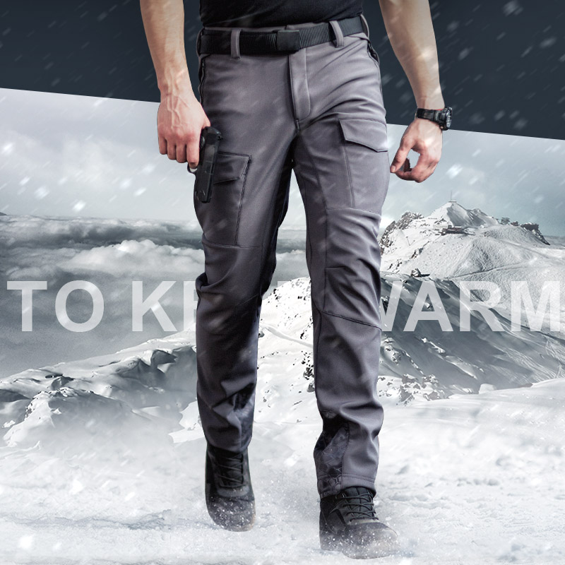 цена на Tactical Softshell Pants Polyester Faux Fleece Lining Lightweight Winter Thermal Athletic Fit Hiking Soft Shell Trousers for Men