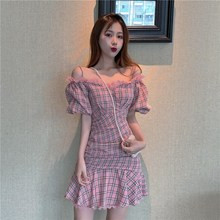 Sexy Slash Neck Lace Trim Ruffle Plaid Mini Dress Summer Slim Off Shoulder Lantern Sleeve Party Dress Sexy Spaghetti Strap Dress frill trim embroidered lantern sleeve dress
