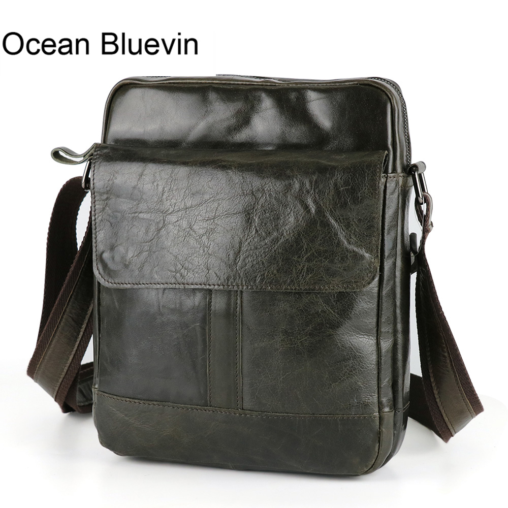 OCEAN BLUEVIN New Hot genuine leather crossbody bag small men bags first layer cow leather men's messenger bag shoulder bags jason tutu genuine leather crossbody bags cow leather multi function shoulder bag brands men messenger bags small bag hn54