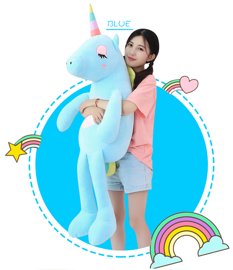 60-140cm Unicorn Plush Toys Cute Rainbow Horse Soft Doll Unicorn Stuffed Animal Soft Pillow Toy for Children Gift for Girlfriend
