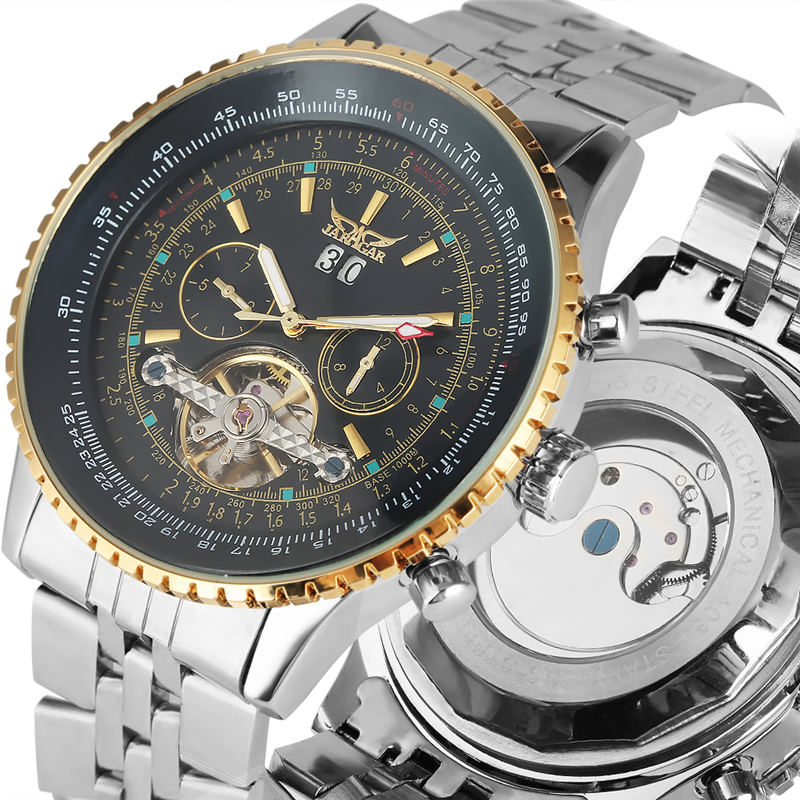 2019 Automatic Mechanical Watch Stainless Steel Skeleton Watches Luminous Hands Calendar Dual Dial Male Clock reloj hombre2019 Automatic Mechanical Watch Stainless Steel Skeleton Watches Luminous Hands Calendar Dual Dial Male Clock reloj hombre
