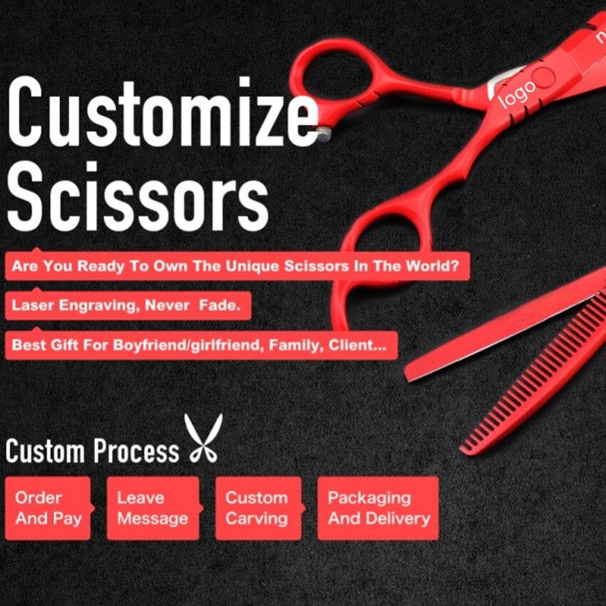 Custom 440c 6 5,5 дюйм BLACK RED кескіш қайшы - Шаш күтімі және сәндеу - фото 6