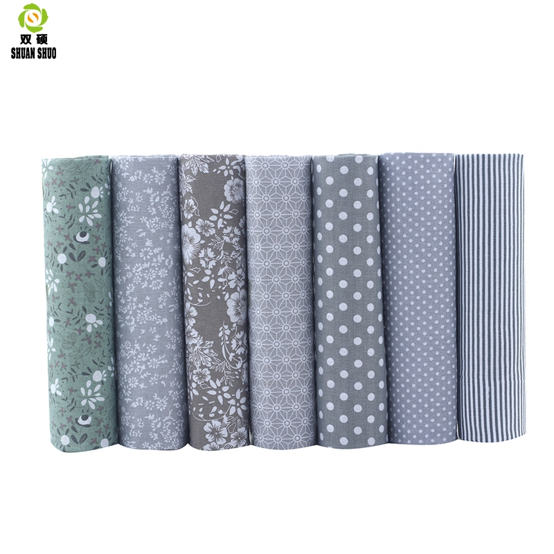 Cotton Fabric No Repeat Design Gray Seriers Patchwork Fat Quarters Bundle Sewing For 7pieces/lot 50cm*50cm A1-7-7