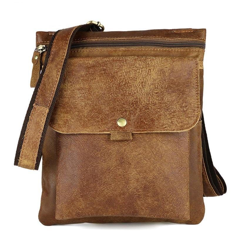 Cowhide Genuine Leather Men Vintage Shoulder Messenger Crossbody Bag Small Tide Package Travel Male Sling Chest Back Bag Pack цены онлайн