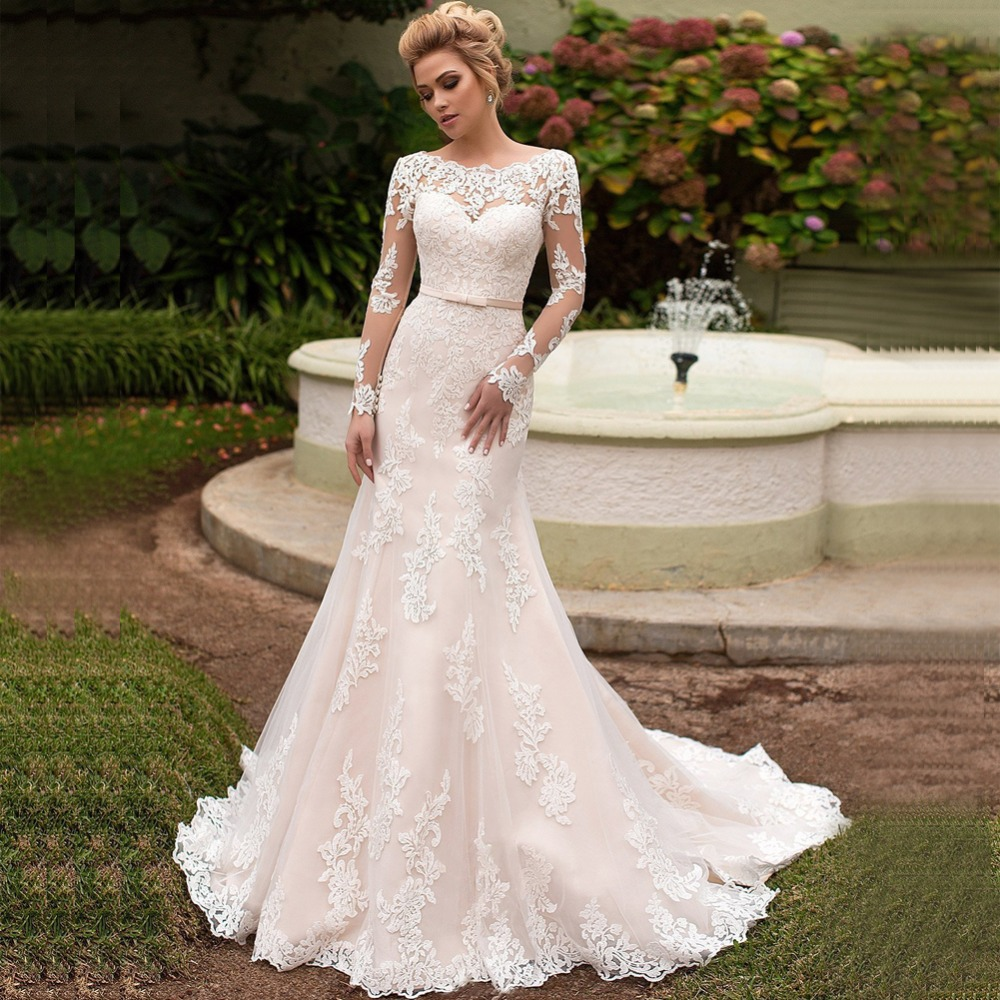 Gorgeous Mermaid Wedding Dresses Turkey 2019 Lace Custom Made Long Sleeve Bridal Dress Wedding Gown vestidos de noiva Plus size