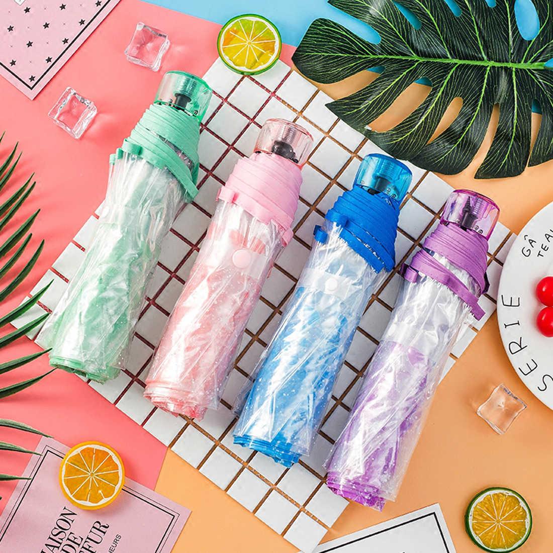 Три раза прозрачный Вишневый зонтик дождь для женщин Дети Солнце Зонтик Компактный Складной Ветрозащитный Стиль Прозрачный Зонтик