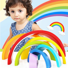 Rainbow Wooden Blocks Colorful Wooden toys Montessori wooden rainbow Educational For Children Learning(China)