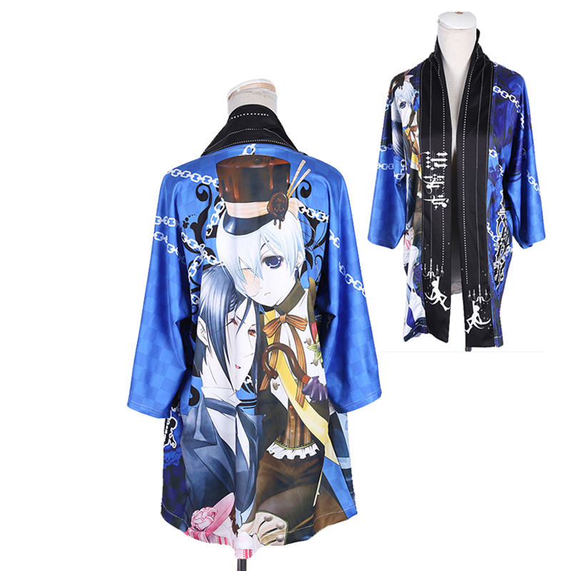 Anime Black Butler Ciel Sebastian Cloak Haori Cosplay Costume Japanese Men Women Casual Kimono Yukata Halloween Party Dress