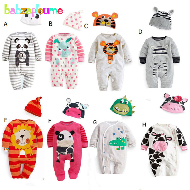 2PCS/0-18Months/Spring Autumn Newborn Costume Baby Boys Girls Clothes Cartoon Jumpsuits   Rompers  +Hats Infant Clothing Sets BC1337