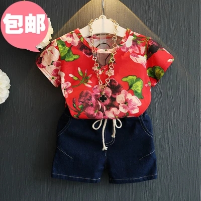 f83ac5a5feb7 baby girl clothes summer clothes children red green denim shorts+ ...