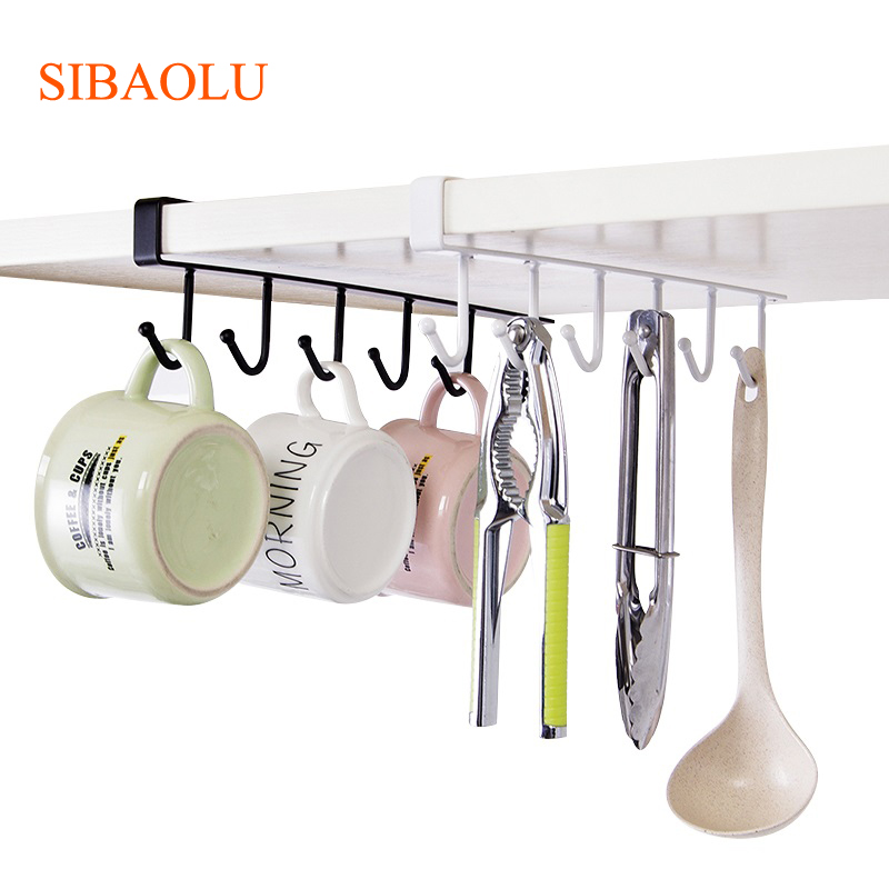 Kitchen Storage Rack Cupboard Hanging Coffee Cup Organizer Closet Clothes Shelf Hanger Wardrobe Glass Mug Holder with 6 Hooks