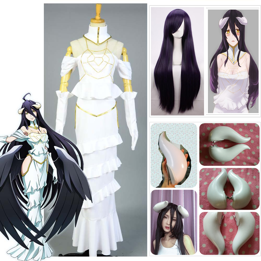 HOT Overlord Albedo Cosplay White Dress Sexy Mermaid Dress for Women Summer Skirt Adult Clothing Cosplay Costume+ Horns + Wig