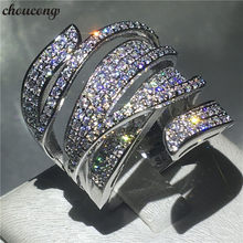 choucong Handmade Big cross Ring 5A Zircon Cz 925 Sterling Silver Engagement Wedding Band Rings for women men Finger Jewelry(China)
