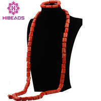2017 New Design Natural Coral Beads Set African Wedding Groom Beads Necklace Jewelry Set 54inches For Men Free Shipping ABL007