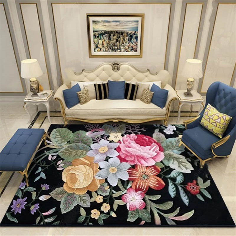 Vintage 3D Flower Printed Parlor Carpet Living Room Bedroom Sofa Bedside Area Rugs Tea Table Kitchen Bathroom Non-Slip Floor Mat