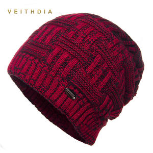 80d4a60f3c7 VEITHDIA Super cool Skullies Hats For Men beanies Knitted plus velvet  Patchwork Color Cap Winter Men s Hat gorro cap Thick warm