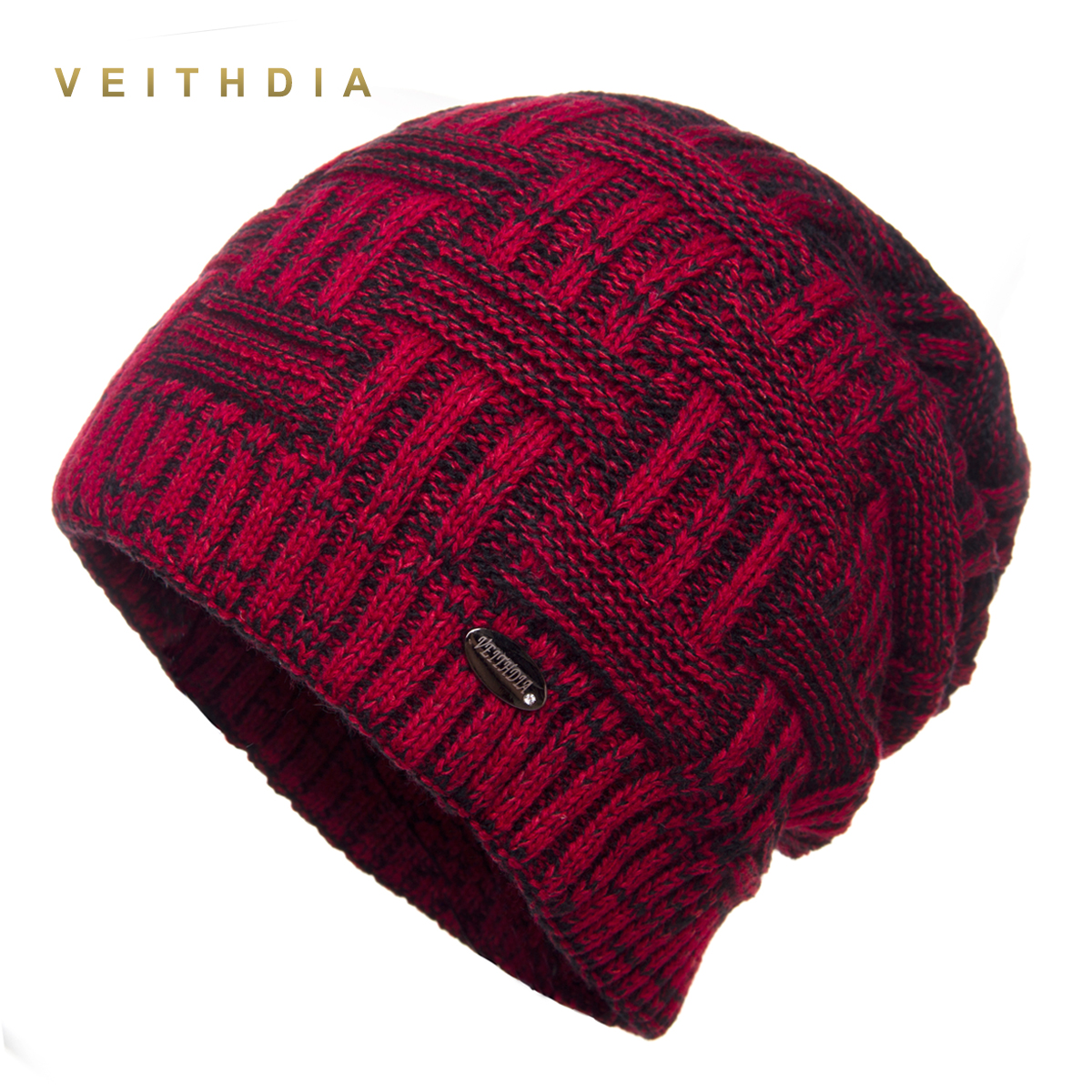 VEITHDIA Super cool   Skullies   Hats For Men   beanies   Knitted plus velvet Patchwork Color Cap Winter Men's Hat gorro cap Thick warm