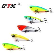 FTK Fishing Lure Kit Popper 5pcs/lot Professional 3D Eye Swim Bait Tackle Set Lifelike Bass Hard 70mm 7g Wobbler HB