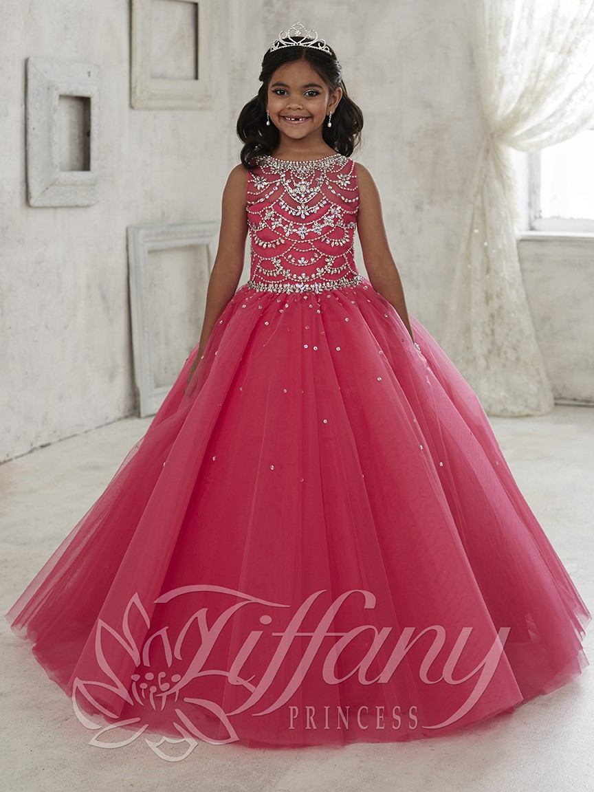New Arrival Hot Pink Beaded Crystal Pageant   Dresses   For Little   Girls   Lace Up Back Ball Gown   Flower     Girl     Dress