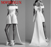 New Designer Short Jumpsuit Women Off Shoulder Prom Evening Dresses With Packet Celebrity Gown Vestidos De Back Train With Bow