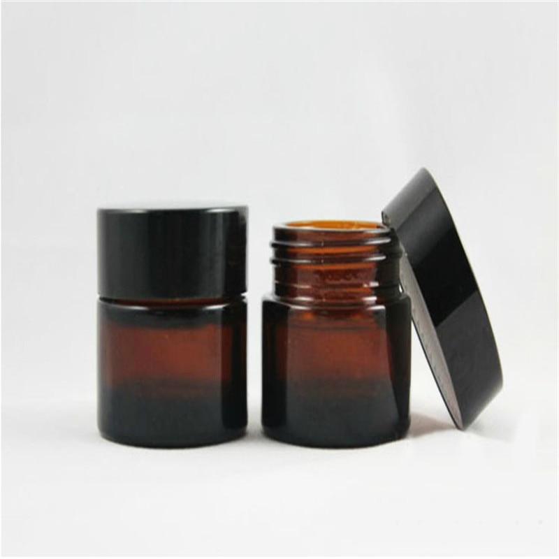 Vysoká kvalita, 5g 10g 20g 30g 50g Prázdné, Jantarová, skleněná kosmetická nádoba, malá skleněná nádoba, naplnitelný kosmetický kontejner