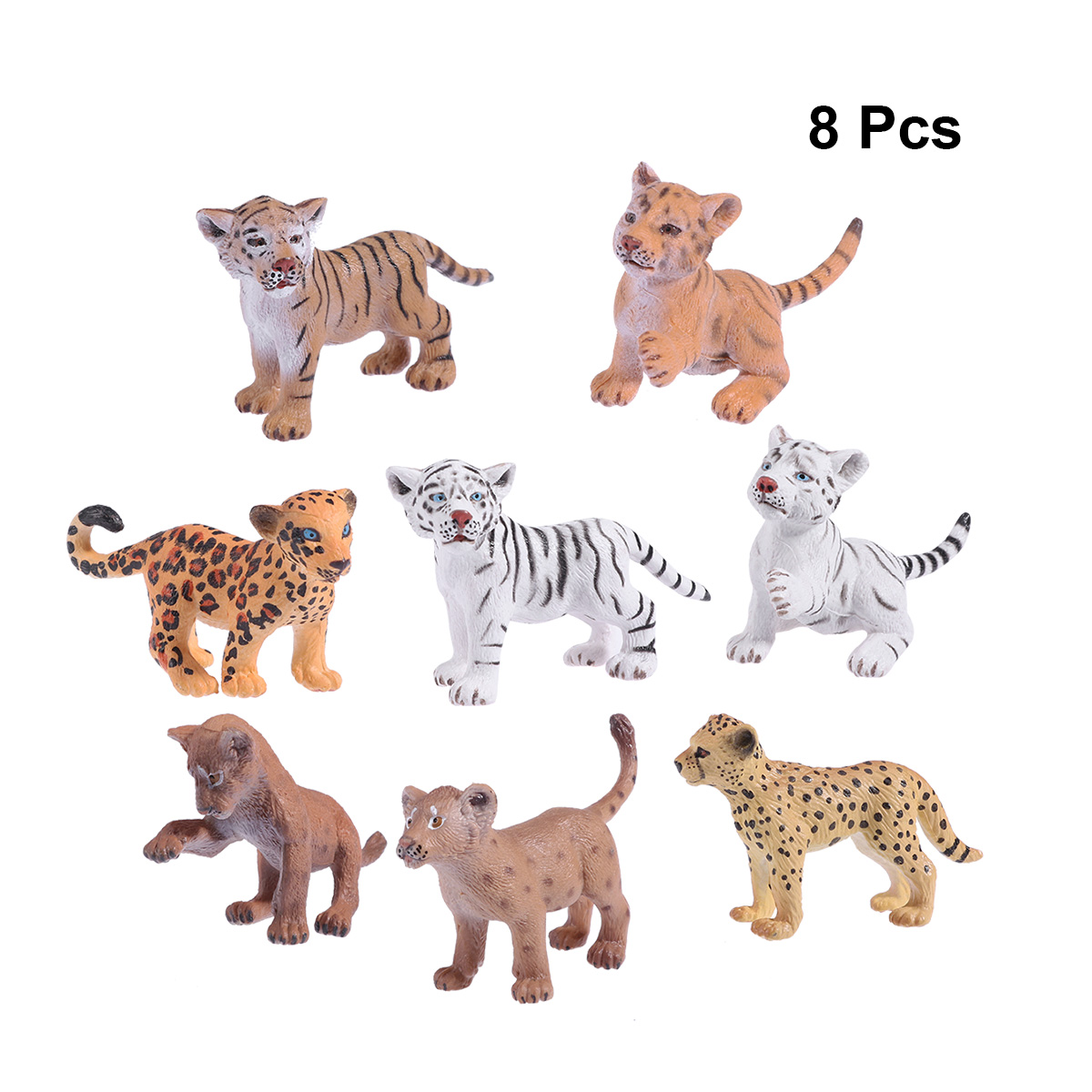 Toy Leopard-Figure Simulation-Animal Office Plastic Cute for Home 8pcs Tiger-African