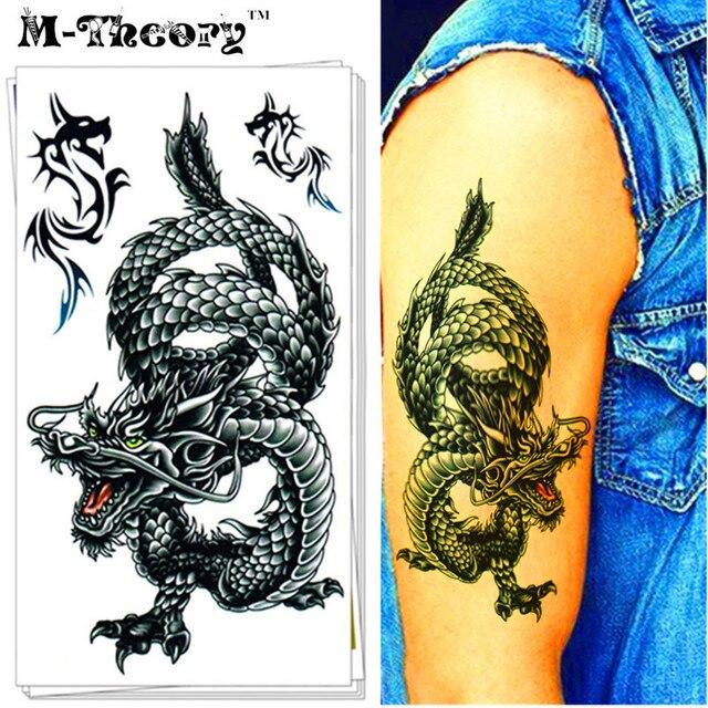 Nu-Taty Временные Татуировки, Боди-Арт, восточная Дракон, Flash Стикер Татуировки Длиться 3-5 дней Водонепроницаемый 17*10 см Татуировки