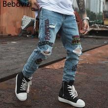 Bebovizi 2019 Hip Hop Men Jogger Denim Pants Blue Skinny Jeans Hipster Graffiti Letter Print Streetwear Destroyed Ripped Jeans graffiti print side skinny jeans