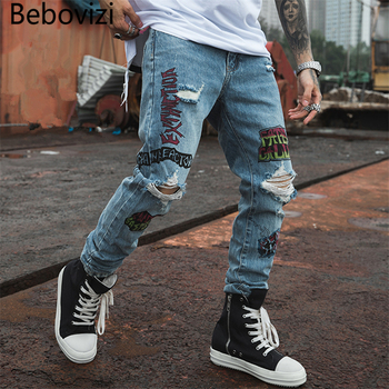 Bebovizi 2019 Hip Hop Men Jogger Denim Pants Blue Skinny Jeans Hipster Graffiti Letter Print Streetwear Destroyed Ripped Jeans blue fashion low waist ripped letter pattern skinny jeans