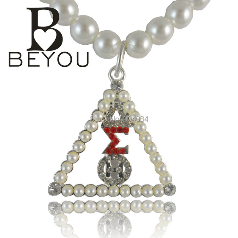 Wholesale Beyou Delta Sigma Theta Crystal & Pearl Necklace