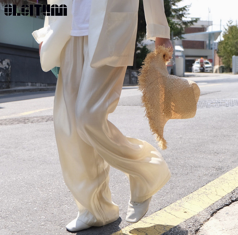 High Quality Silks and Satins Soft High Waist   Wide     Leg     Pants   for Summer 2019 Pure Color Luster Loose Mopping Trousers Women