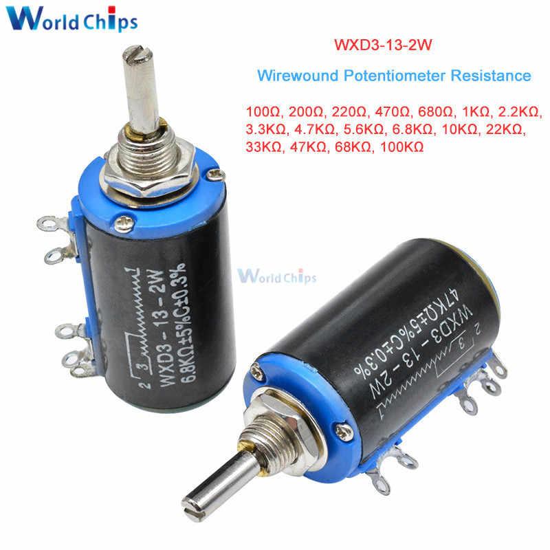 2 pcs WXD3-13-2W 2.2K Ohm Multi-Turn Wirewound Potentiometer