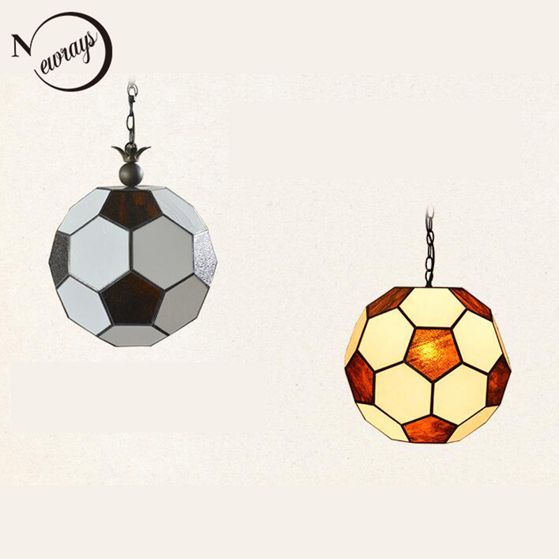 Modern creative football glass pendant lamp LED E27 220V pendant Light Fixture For living room bedroom restaurant hotel cafe bar modern europe stainless steel creative circle pendant light led firework lamp ball lamp for restaurant living room cafe bar