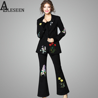 Luxury Set Suits New Fashion Women S 2017 Long Sleeve Black Blazer Top Flower Embroidery Flares
