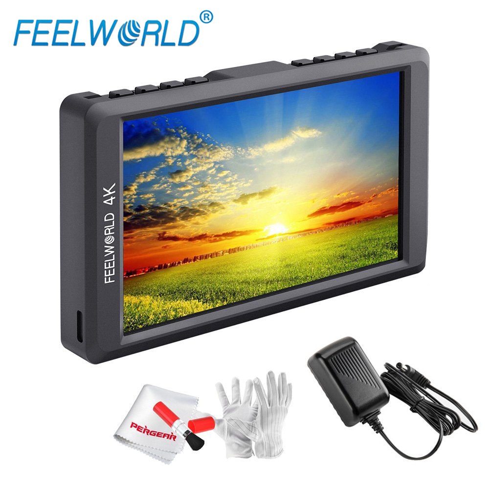 Feelworld F55 5.5 Inch Full HD 1920x1080 HDMI Input/Output Monitor Supports 4K 1000:1 Contrast 450cd/m2 Brightness Power Adapter
