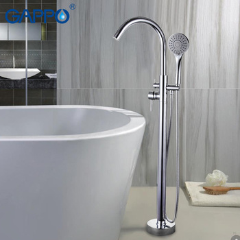 GAPPO Bathtub Faucets bathroom taps Brass Floor Stand bathtub mixer bath mixer sink faucet waterfall faucet shower system modern bathroom waterfall bathtub faucet set deck mount 5 holes mixer taps tub mixer taps chrome finish