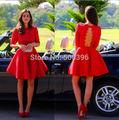 2017 A Linha de Mangas Meia Backless Vermelho Laço de Cetim Curto Mini Vestidos Homecoming Sob 30 Vestidos de Cocktail